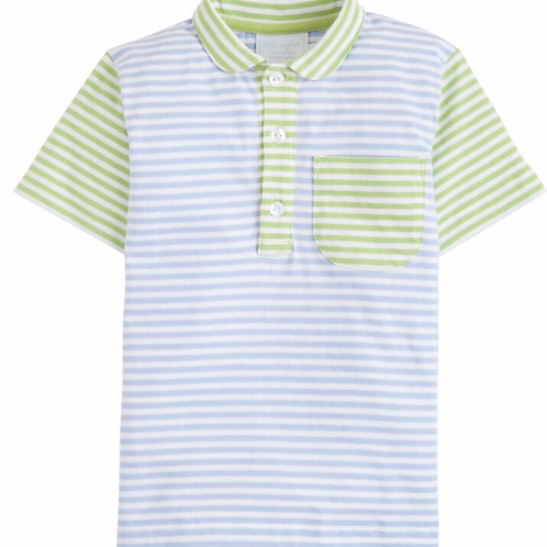Little English Blue and Green Striped Polo