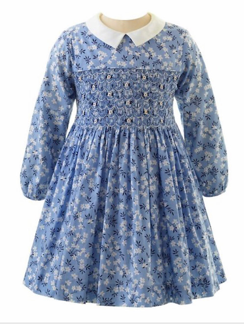Rachel Riley Blue Blossom Smocked Dress