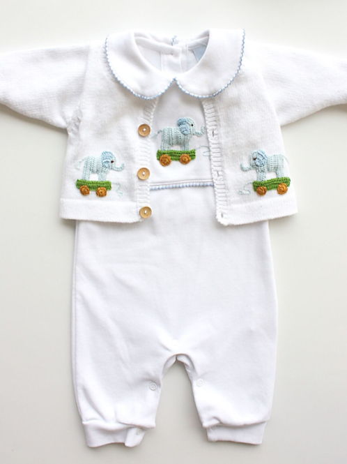 Little English Boy Elephant Crochet Pima Playsuit