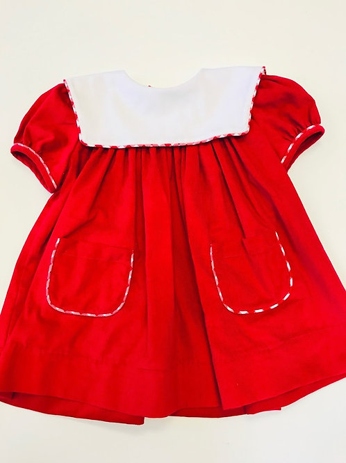 Anvy Kids Red Cord Square Collar Dress 12 mo, 2T