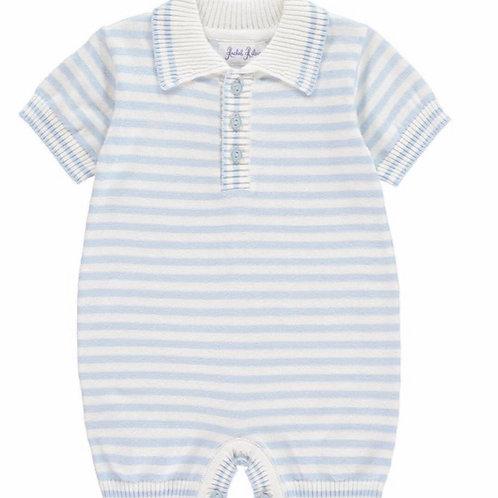 Rachel Riley Light Blue Striped Knit Babysuit