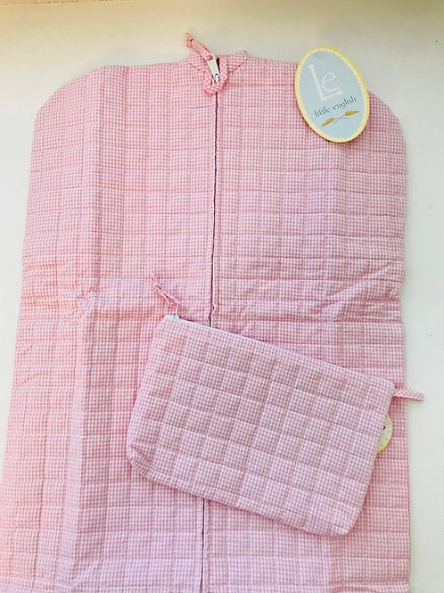 Little English Pink Gingham Garment Bag