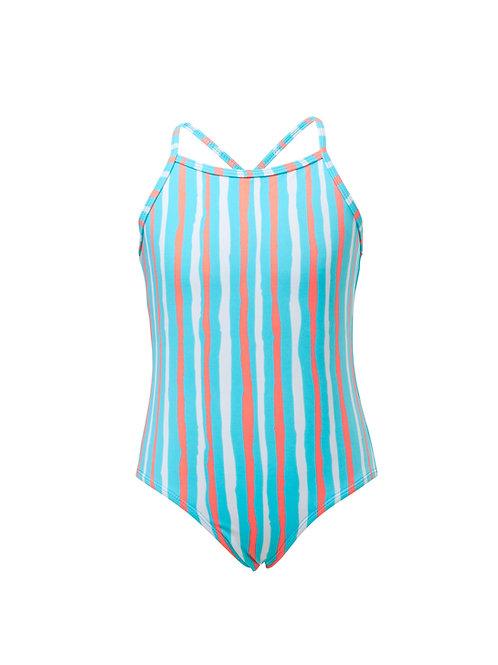 Snapper Rock Aqua and Orange Stripe 1-pc Swimsuit