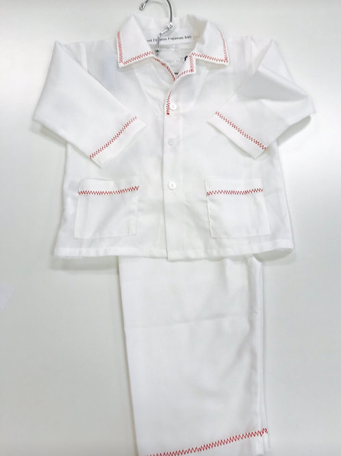 White Pajamas with Red Stitching 12 mo-4, 8