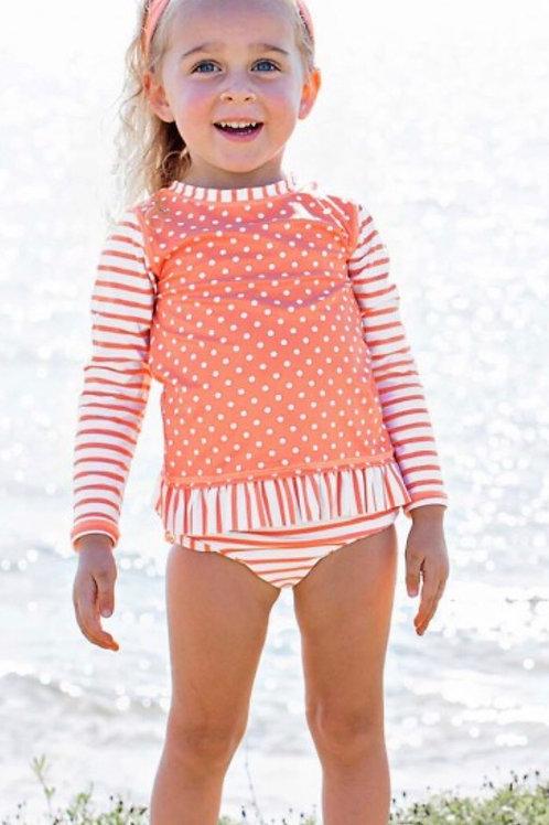 Ruffle Butts Coral Rash Guard/Bikini Set