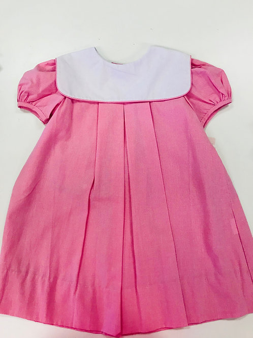 Lullaby Set Pink Gingham Dress with Square White Collar