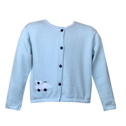 Lullaby Set Light Blue Train Cardigan Sweater