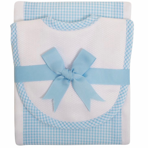 3 Marthas Aqua Gingham Bib/Burp Set