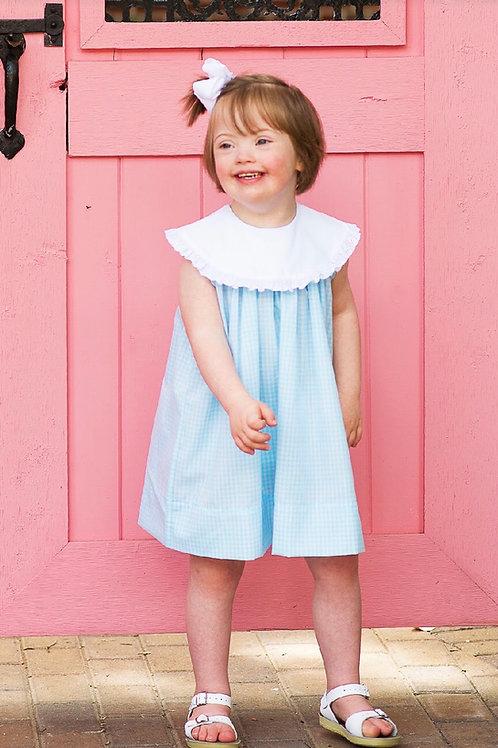Lullaby Set Aqua Gingham Olivia Dress 12 mo-3t