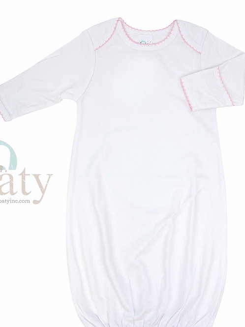 Paty White with Pink Picot Trim Gown