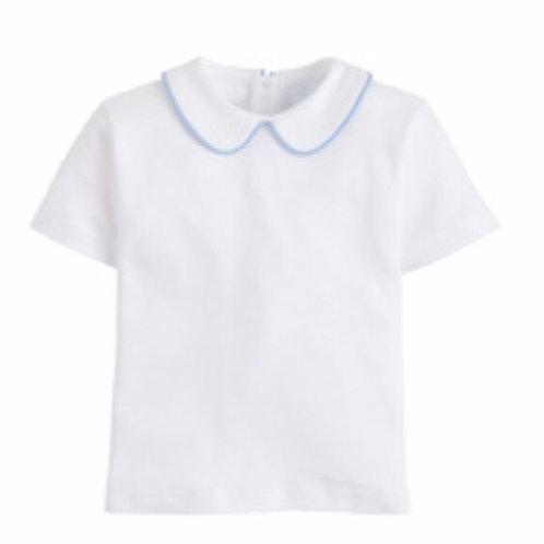 Little English Peter Pan Piped Short-Sleeve Shirt-Light Blue