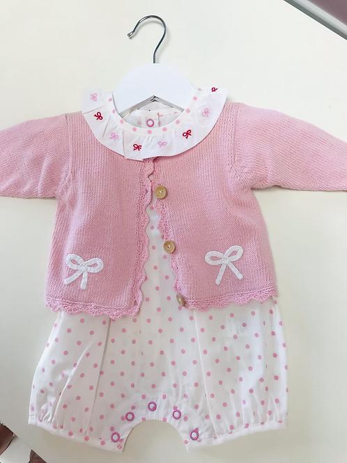 Little English Pink Bow Crochet Sweater 3, 6, 9 mo