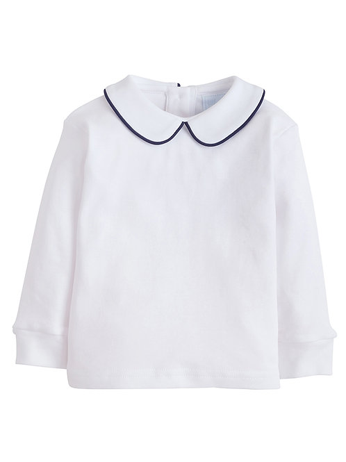 Little English Navy Piped Peter Pan Knit Shirt