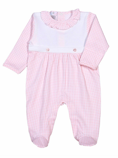 Baby Bliss Pink Gingham Pima Two-Buttom Footie