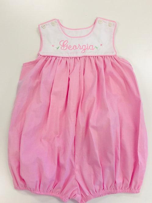 Lullaby Set Pink Gingham Yoke Bubble