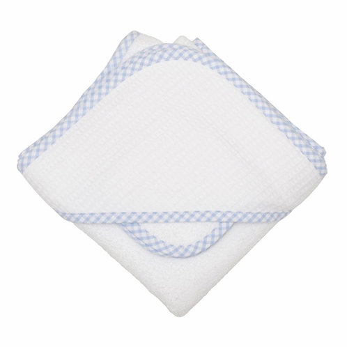 3 Marthas Hooded Towel and Washcloth Set-Light Blue Gingham Trim