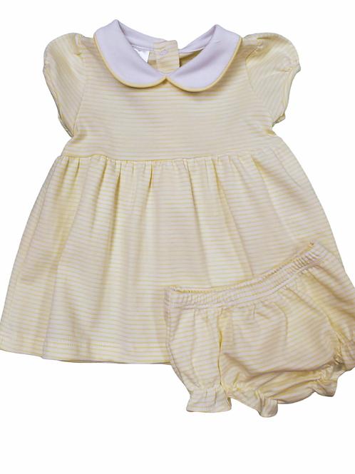 Bambinos Yellow Stripe Pima Twirly Dress
