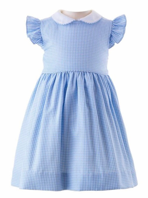 Rachel Riley Blue Gingham Frill Sleeve Dress and Bloomers 12, 18 mo
