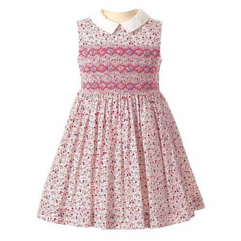 Rachel Riley Pink Smocked Ditsy Dress-Sleeveless