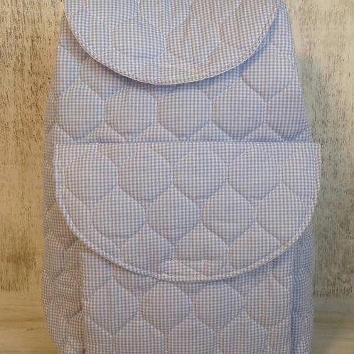 SGM Light Blue Gingham Pocket Backpack
