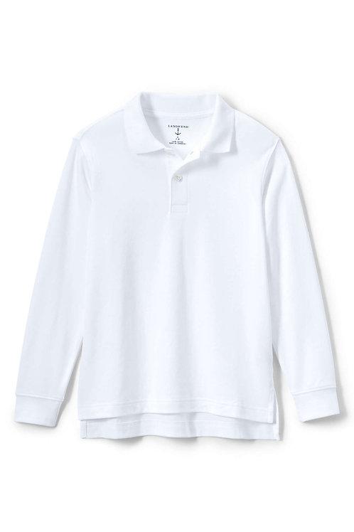 Polo-White L/S Lands End-Soft Weave