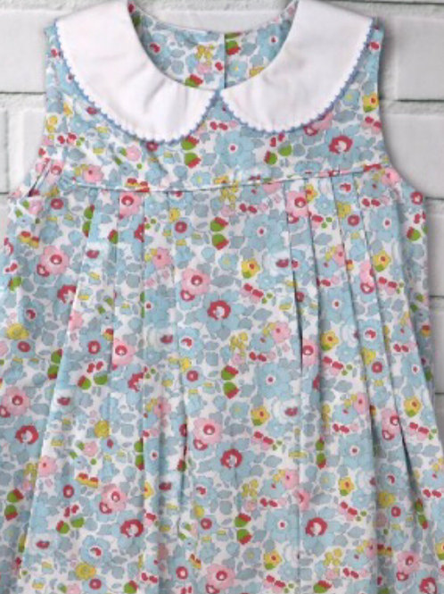 True Blue Floral Pleated Dress
