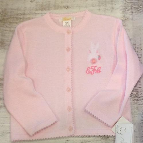 Petit Ami Pink Cardigan Sweater with Scallopped Edge