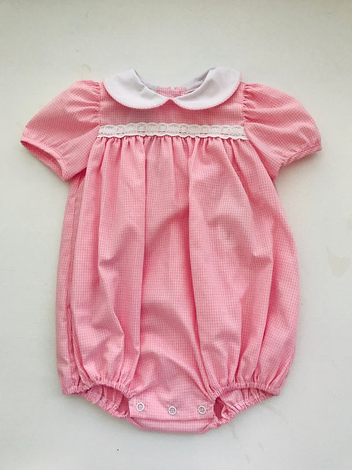 Lullaby Set Pink Gingham Bubble with Eyelet Trim
