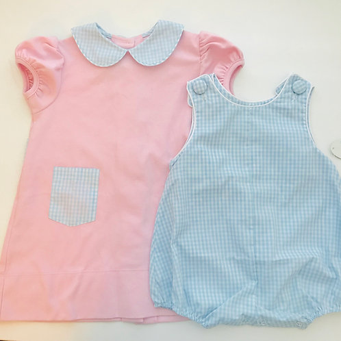 Lullaby Set Pink Knit with Light Blue Gingham Collar Dress