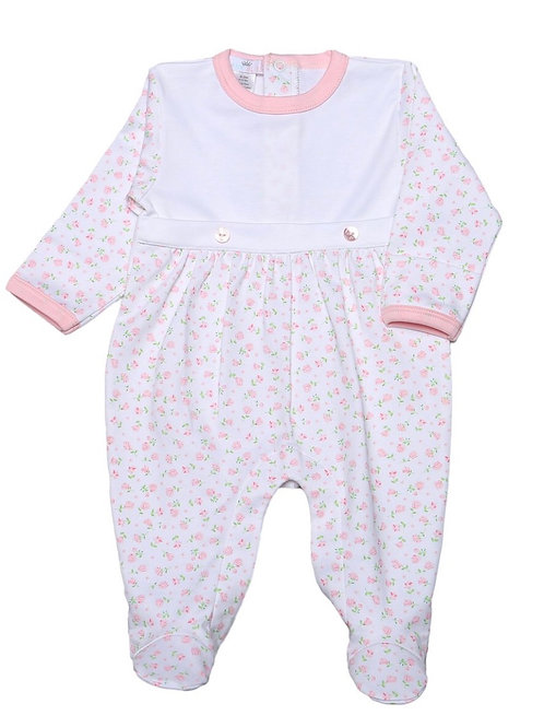 Baby Bliss Pink Floral Alice Footie
