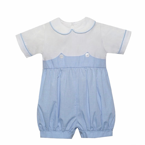 Lullaby Set Light Blue Gingham Button-On Bubble with White Top