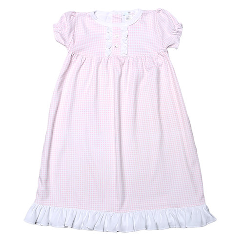 Baby Bliss Pima Pink Gingham Olivia Gown