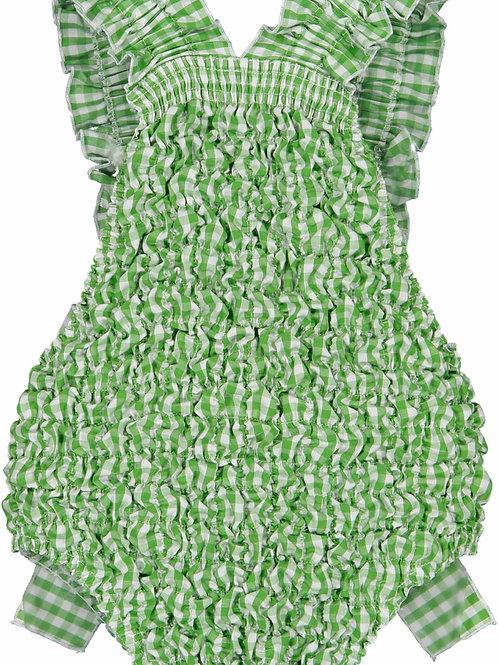 Sal & Pimenta Grass Green Gingham Frilled Swimsuit