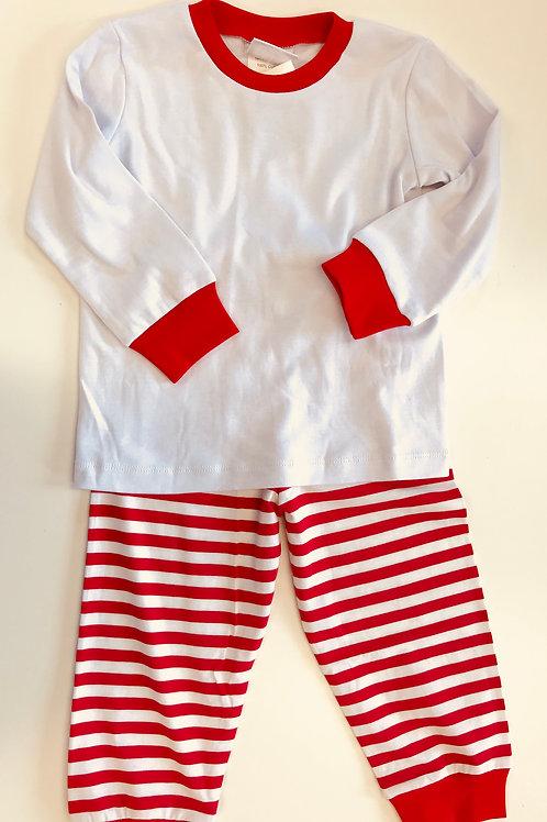 Christmas Morning Pajamas-red and white striped Pajamas