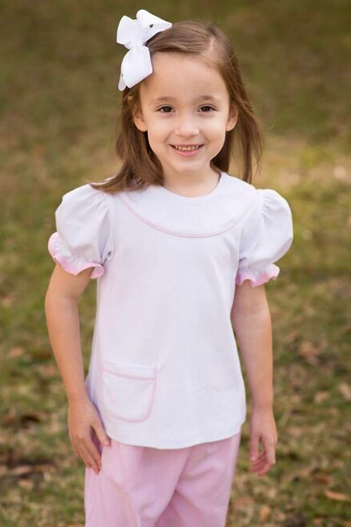 Lullaby Set Yoke Woven Blouse with Pink