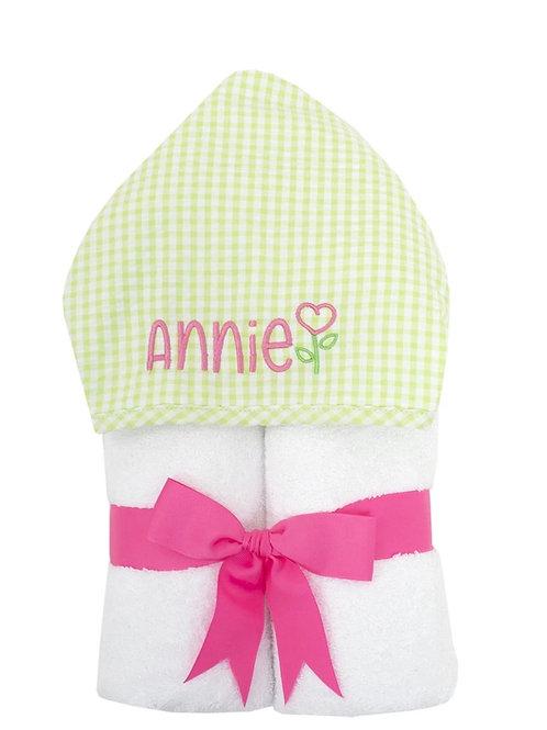 3 Martha's Green seersucker hooded towel
