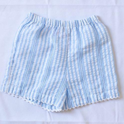 Peggy Green Blue Seersucker Stripe Girls Ric Rac Shorts