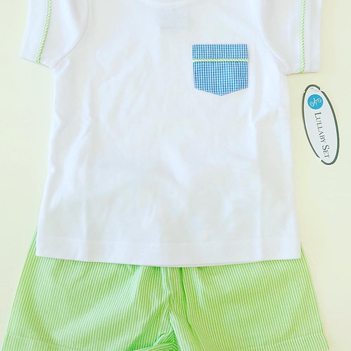 Lullaby Set Pocket Tee-White with Blue and Green Pocket