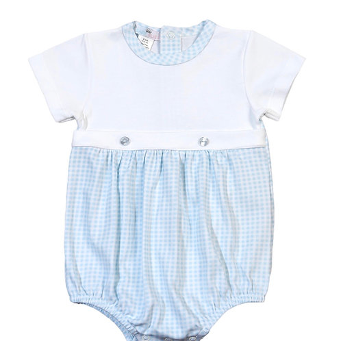 Baby Bliss Pima Blue Gingham Button Bubble