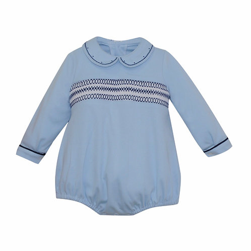 Lullaby Set Light Blue and Navy Smocked Bubble 6,9,12 mo