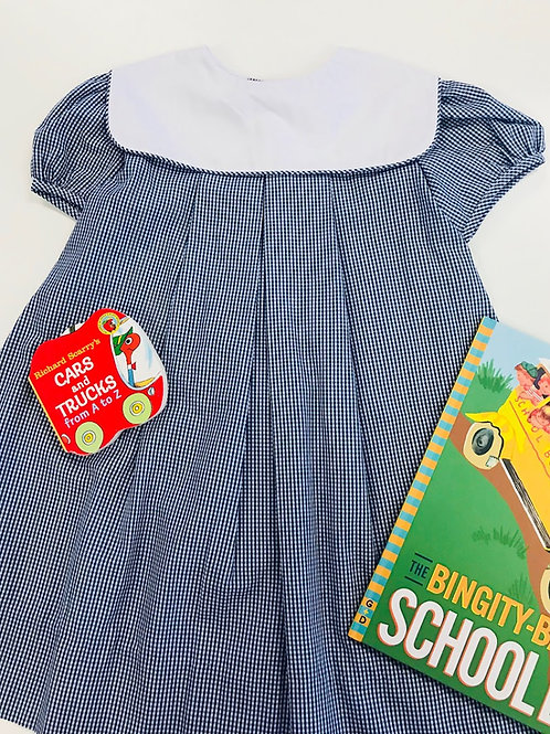 Lullaby Set Dress Navy Gingham with Square White Collar