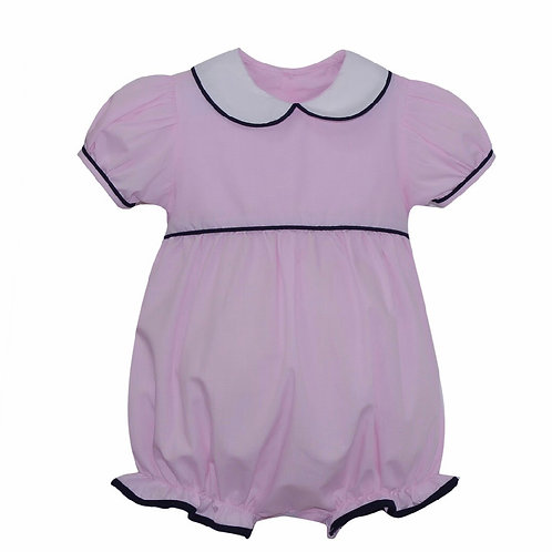 Lullaby Set Pink Microcheck Bubble with Navy Trim