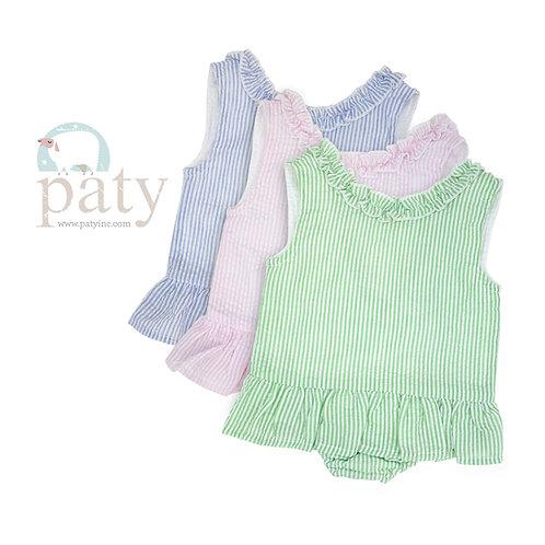 Paty Pink Seersucker Swimsuit