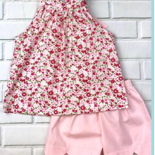 Honesty Pink Floral Tie Back Scallopped Short Set
