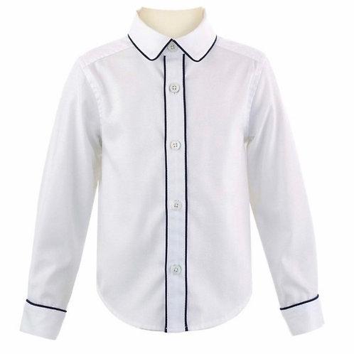 Rachel Riley Navy Trimmed Pique Shirt