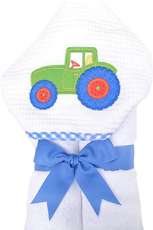 3 Marthas Tractor Applique Hooded Towel