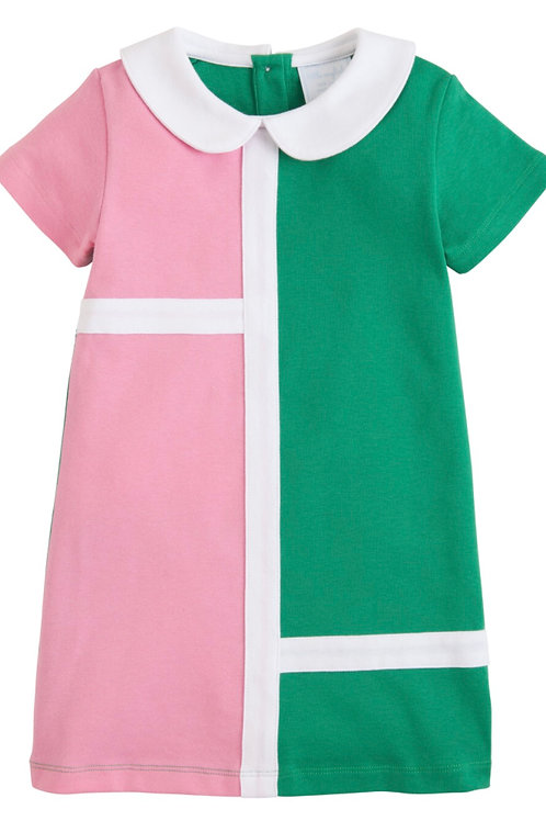 Little English Samantha Dress in Pink and Green 3t, 4t