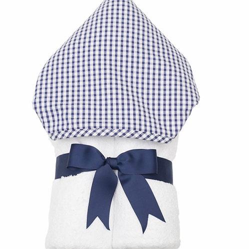 3 Marthas Navy Gingham Hooded Towel