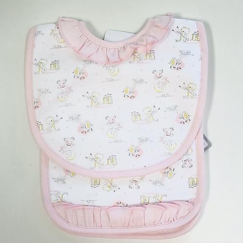 Baby Loren Pima Pink Nursery Rhymes Bib/Burp Set