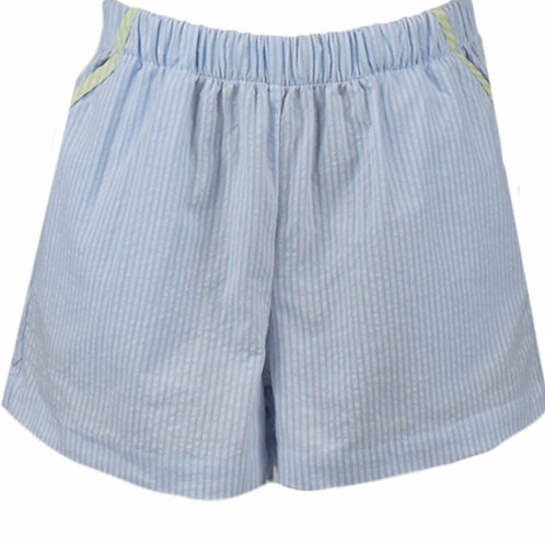 Lullaby Set Light Blue Stripe Shorts with Green Trim